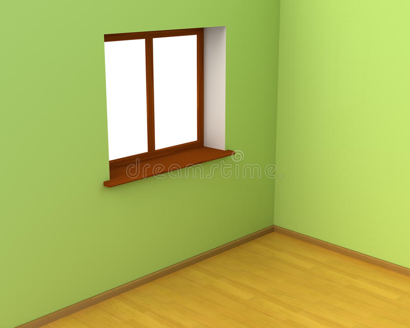 Κενό δωμάτιο με το μεγάλο παράθυρο ελεύθερη απεικόνιση δικαιώματος