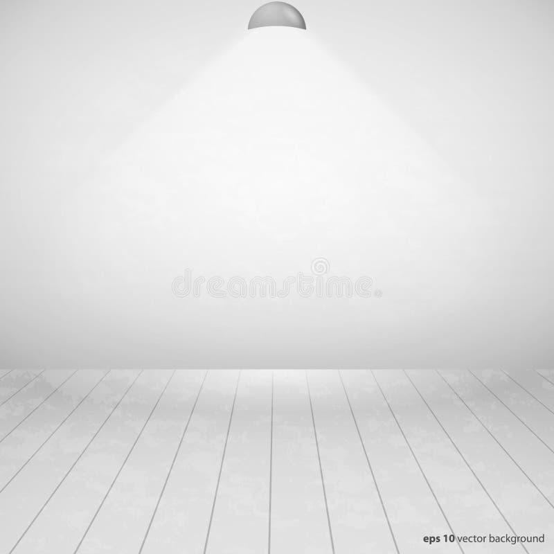 Κενό δωμάτιο με το ξύλινο πάτωμα και τον άσπρο τοίχο διανυσματική απεικόνιση