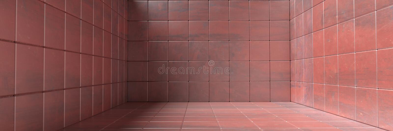 Κενό δωμάτιο, πάτωμα και κεραμωμένο τοίχοι σχέδιο, σύσταση υποβάθρου κόκκινου χρώματος μετάλλων r διανυσματική απεικόνιση