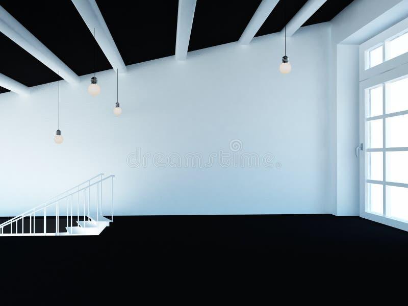 Κενό δωμάτιο, σοφίτα, σκαλοπάτια και ένα μεγάλο παράθυρο, τρισδιάστατο ελεύθερη απεικόνιση δικαιώματος