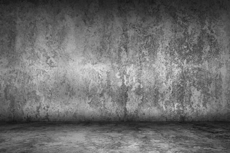 Κενό δωμάτιο grunge με το πάτωμα συμπαγών τοίχων και τσιμέντου, εσωτερικό στοκ εικόνα