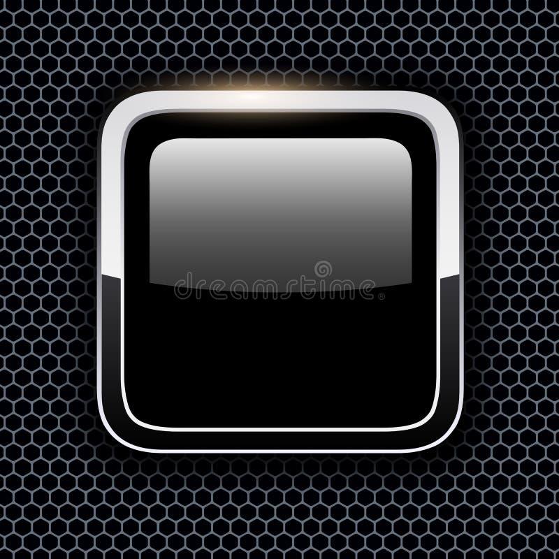 Κενό εικονίδιο με το πλαίσιο μετάλλων χρωμίου διανυσματική απεικόνιση