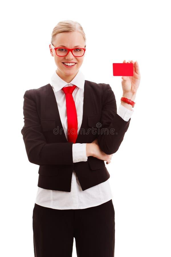 Κενό εκμετάλλευσης γυναικών businesscard στοκ φωτογραφίες