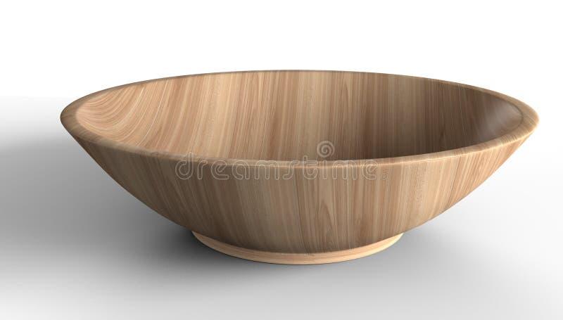 Κενό ελαφρύ ξύλινο κύπελλο που απομονώνεται από το άσπρο υπόβαθρο Για τα τρόφιμα στοκ εικόνα