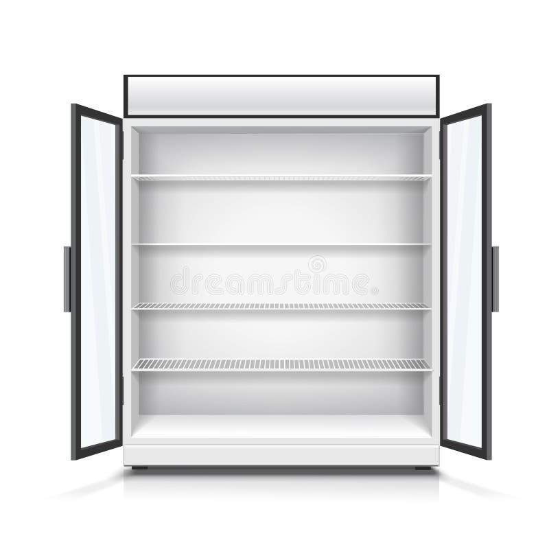 Κενό εμπορικό ψυγείο με τα ράφια και τις ανοιγμένες πόρτες Ρεαλιστική διανυσματική απεικόνιση διανυσματική απεικόνιση