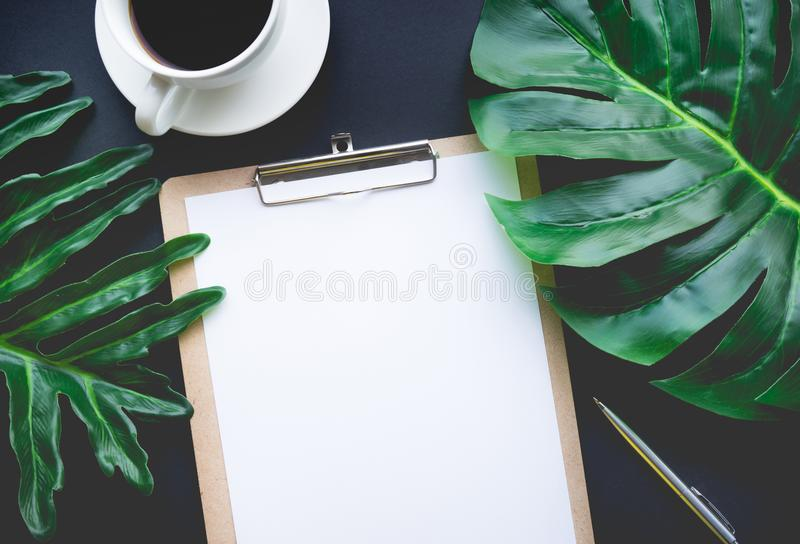Κενό επιστολόχαρτο με τα τροπικά φύλλα και τα εξαρτήματα που βάζουν στον πίνακα στοκ εικόνα