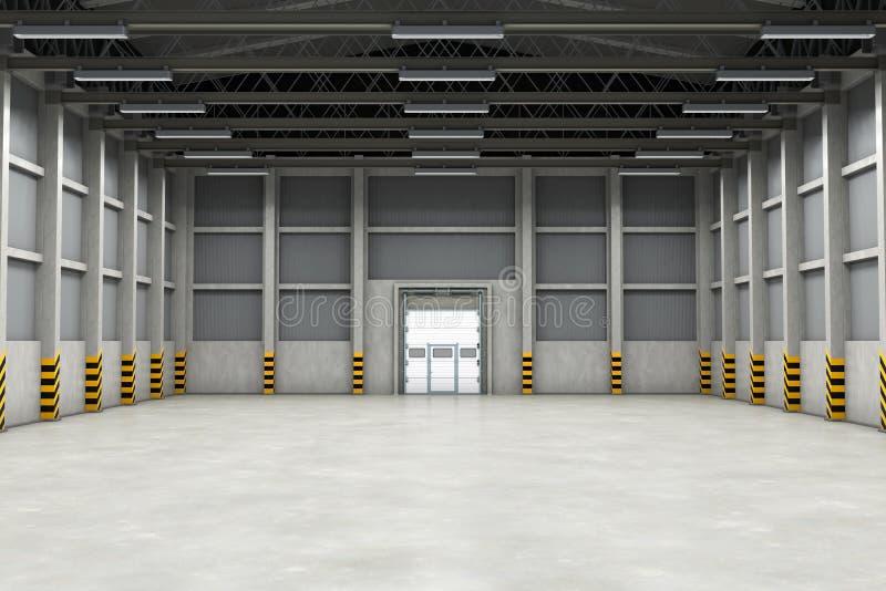 Κενό εσωτερικό ή βιομηχανικό κτήριο αποθηκών εμπορευμάτων τρισδιάστατη απόδοση ελεύθερη απεικόνιση δικαιώματος