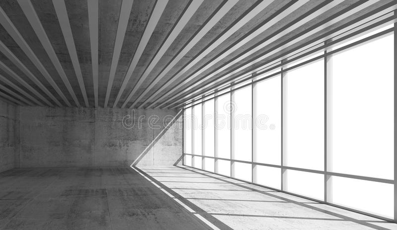 Κενό εσωτερικό ανοιχτού χώρου με τα φωτεινά παράθυρα, τρισδιάστατα απεικόνιση αποθεμάτων