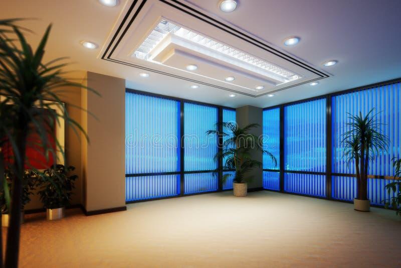 Κενό εσωτερικό επιχειρησιακών γραφείων ή πολυόροφων κτιρίων δωματίων διαμερισμάτων διανυσματική απεικόνιση