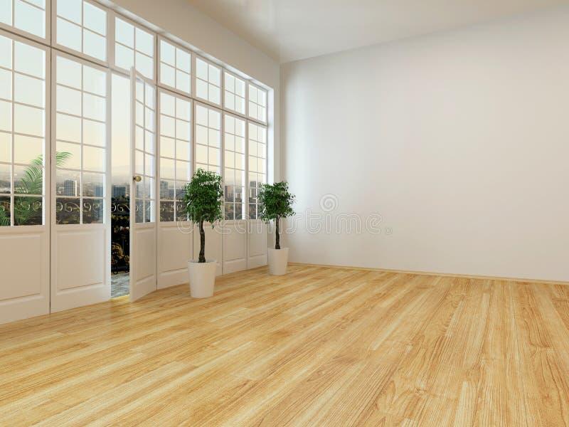 Κενό εσωτερικό καθιστικών με το πάτωμα παρκέ ελεύθερη απεικόνιση δικαιώματος