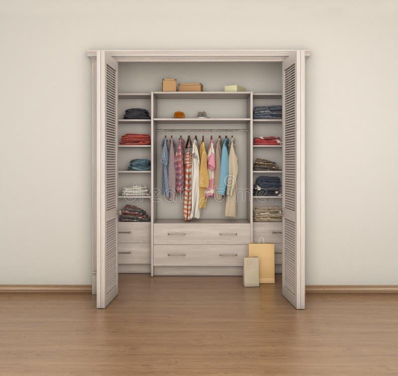Κενό εσωτερικό και πλήρες ντουλάπι δωματίων  ελεύθερη απεικόνιση δικαιώματος