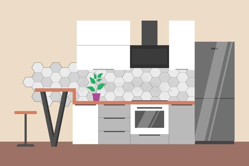 Κενό εσωτερικό κουζινών Έπιπλα ψυγείων, φούρνων και σπιτιών διανυσματική απεικόνιση