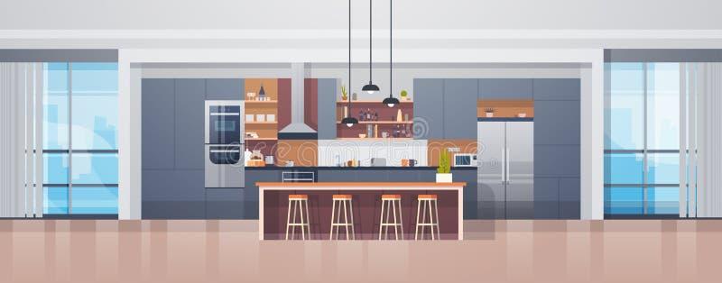 Κενό εσωτερικό κουζινών με το σύγχρονους μετρητή και τις συσκευές επίπλων διανυσματική απεικόνιση