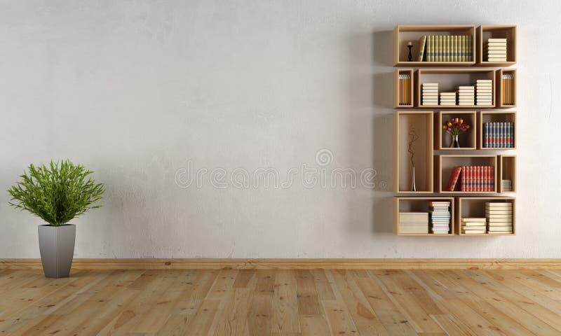Κενό εσωτερικό με τη βιβλιοθήκη τοίχων στοκ φωτογραφία