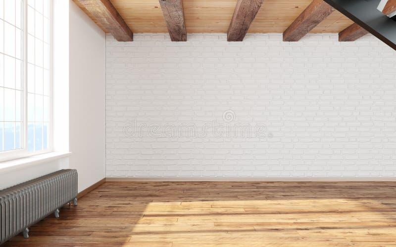 Κενό εσωτερικό σοφιτών δωματίων με τους μεγάλους άσπρους τοίχους παραθύρων, τα τούβλα, τις ξύλινα ακτίνες και το πάτωμα ελεύθερη απεικόνιση δικαιώματος