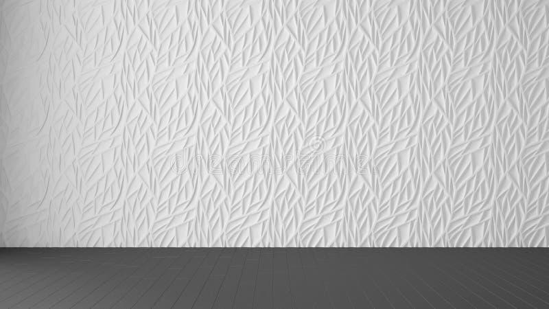 Κενό εσωτερικό σχέδιο δωματίων, λευκιά επιτροπή και ξύλινο γκρίζο πάτωμα, σύγχρονο υπόβαθρο αρχιτεκτονικής με το διάστημα αντιγρά διανυσματική απεικόνιση