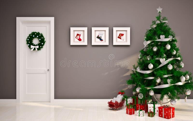 Κενό εσωτερικό Χριστουγέννων με την πόρτα & το δέντρο στοκ εικόνες