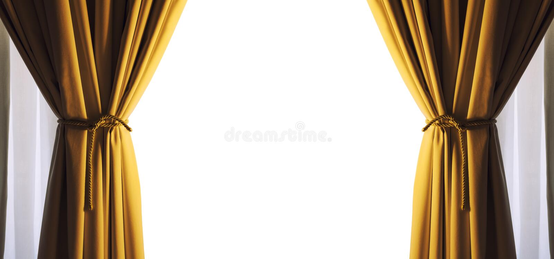 Κενό ελεύθερο άσπρο διαστημικό πλαίσιο κουρτινών Χρυσό χρώμα PNG διαθέσιμο διανυσματική απεικόνιση