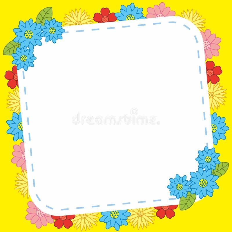 Κενό ζωηρόχρωμο χαριτωμένο υπόβαθρο σχεδίου πλαισίων λουλουδιών ελεύθερη απεικόνιση δικαιώματος