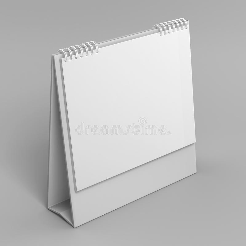 Κενό ημερολόγιο υπολογιστών γραφείου που απομονώνεται στο άσπρο υπόβαθρο για τη χλεύη επάνω και τα σχέδια τυπωμένων υλών η τρισδι ελεύθερη απεικόνιση δικαιώματος