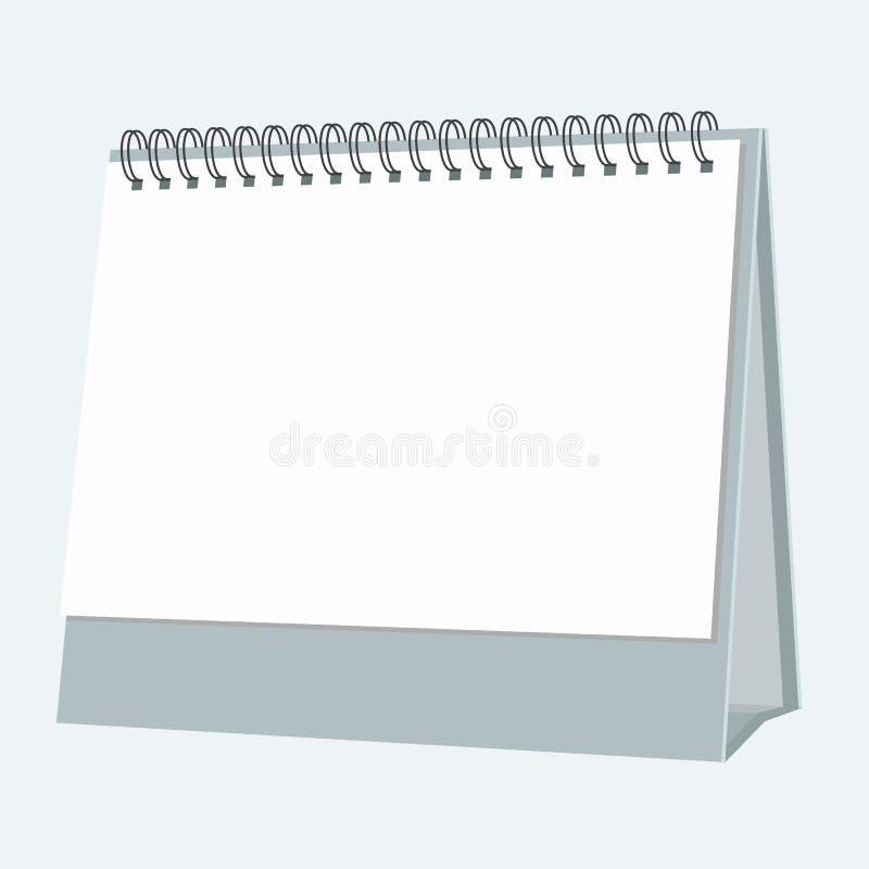 Κενό ημερολόγιο υπολογιστών γραφείου με το επίπεδο σχέδιο ύφους χρώματος διάνυσμα διανυσματική απεικόνιση