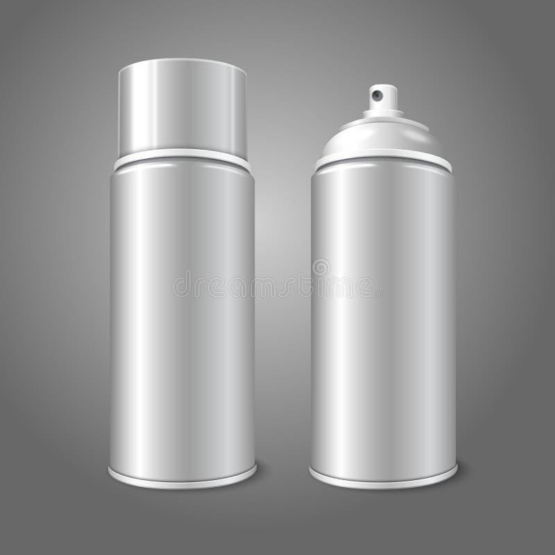 Κενό διανυσματικό τρισδιάστατο μπουκάλι μετάλλων ψεκασμού αερολύματος δύο απεικόνιση αποθεμάτων