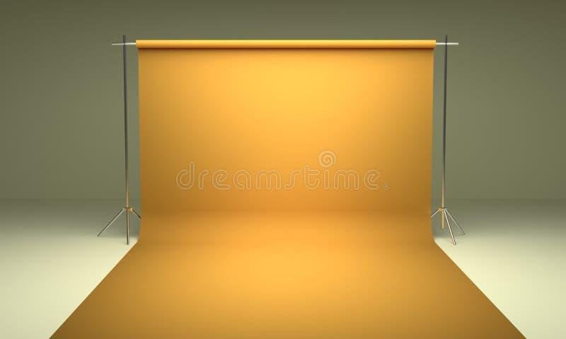 Κενό κίτρινο πρότυπο υποβάθρου στούντιο φωτογραφίας στοκ εικόνες