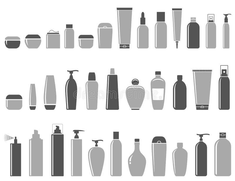Κενό καλλυντικό σύνολο μπουκαλιών απεικόνιση αποθεμάτων
