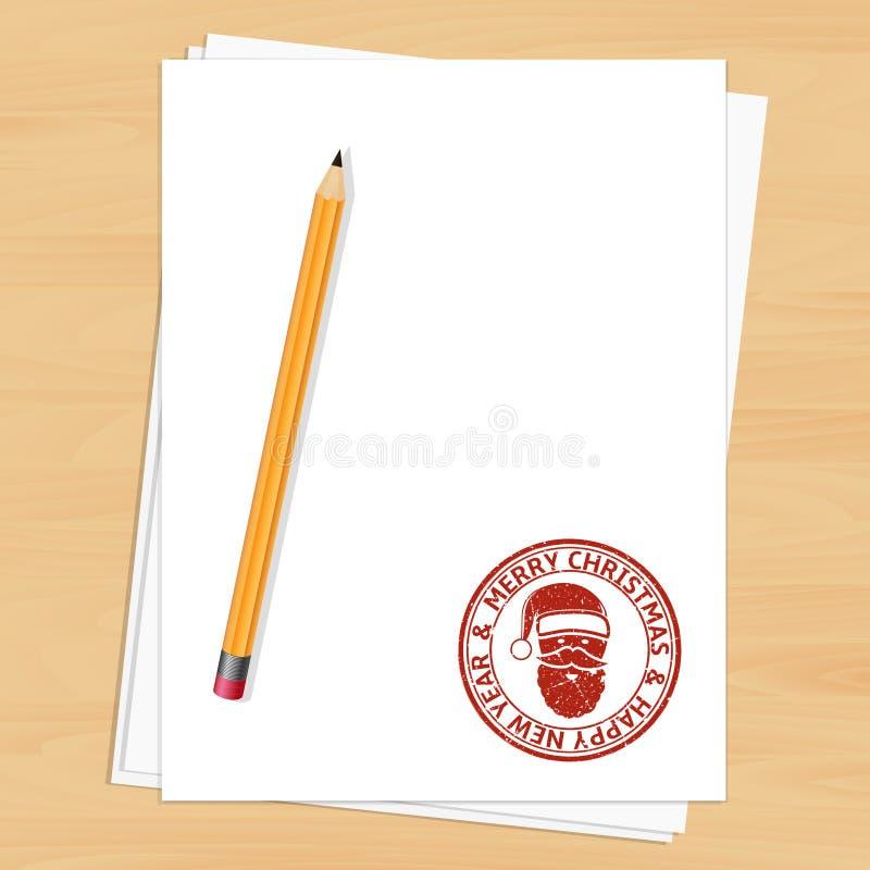 Κενό κενό φύλλο εγγράφου με το γραμματόσημο Χριστουγέννων απεικόνιση αποθεμάτων