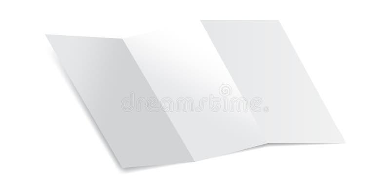 Κενό κομμάτι χαρτί Trifold με τη διανυσματική απεικόνιση προτύπων σκιών Χλεύη επάνω ενός εγγράφου επιστολών που απομονώνεται σε έ απεικόνιση αποθεμάτων