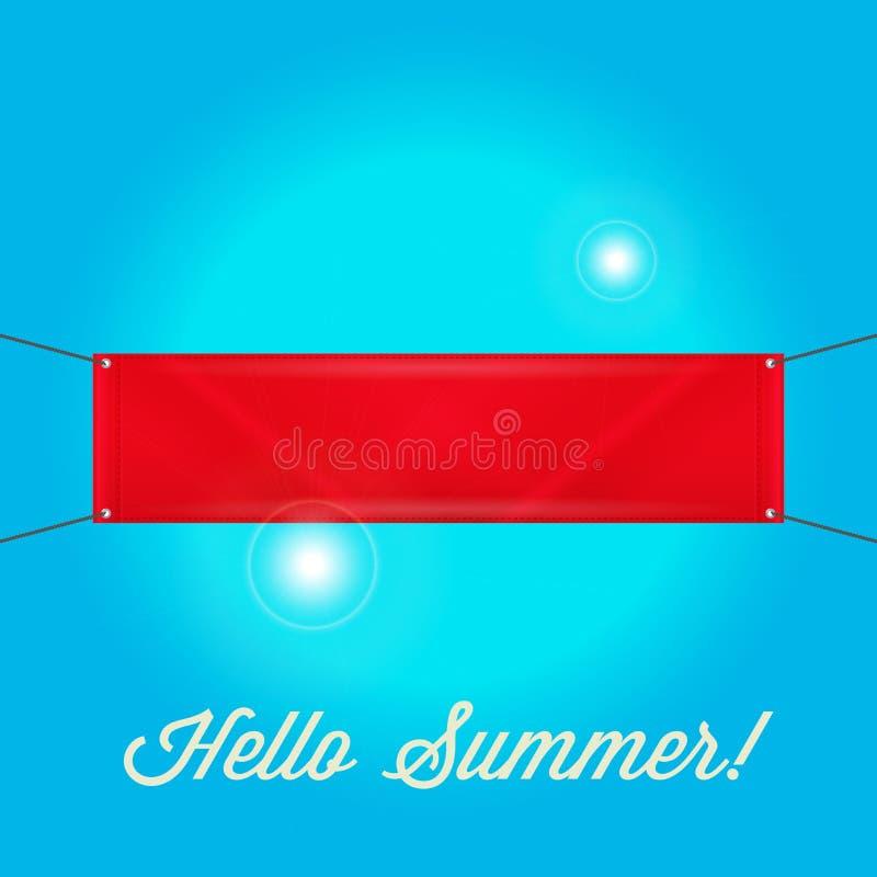 Κενό κενό κόκκινο έμβλημα Βινυλίου έμβλημα με τα στρόφια Γειά σου θερινό ηλιόλουστο μπλε υπόβαθρο απεικόνιση αποθεμάτων