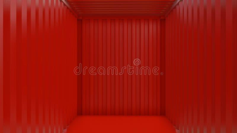 Κενό κόκκινο εσωτερικό εμπορευματοκιβωτίων φορτίου διανυσματική απεικόνιση