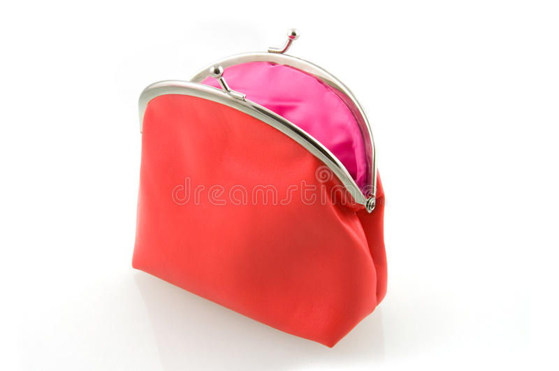 κενό κόκκινο πορτοφόλι στοκ φωτογραφία
