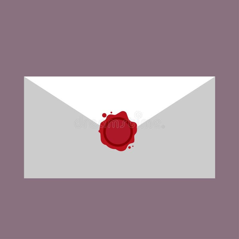Κενό κόκκινο σφραγίδων αλληλογραφίας συμβόλων επιστολών γραμματοσήμων κεριών Διανυσματικό εικονιδίων ταχυδρομείο εξουσιοδότησης μ διανυσματική απεικόνιση