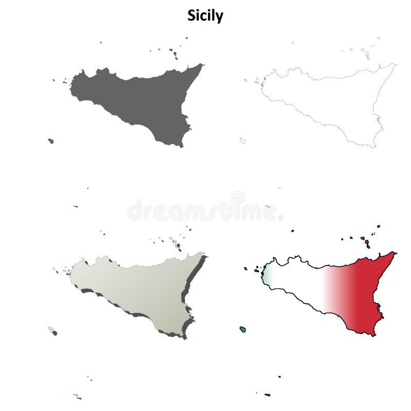 Κενό λεπτομερές σύνολο χαρτών περιλήψεων της Σικελίας διανυσματική απεικόνιση