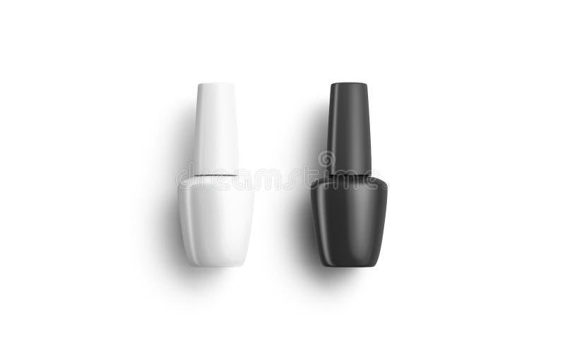 Κενό ματ μαύρο και λευκό βερνίκι νυχιών φιάλη που λέει ψέματα διανυσματική απεικόνιση