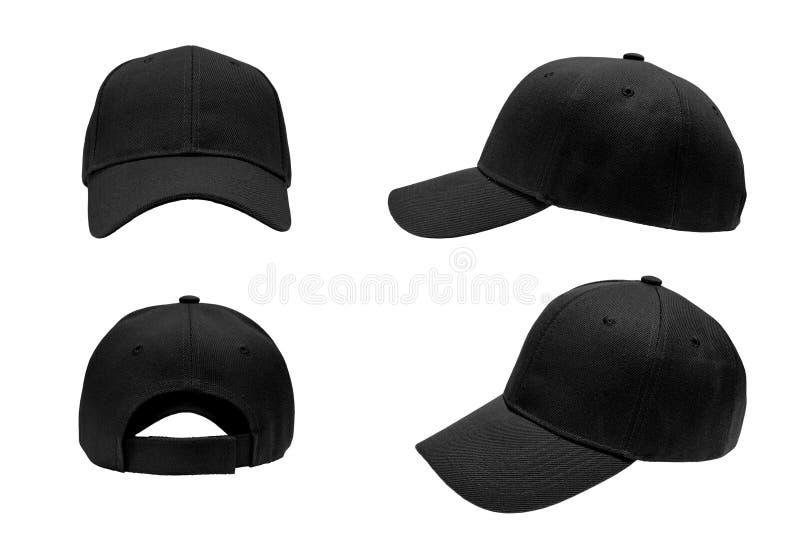 Κενό μαύρο καπέλο του μπέιζμπολ, καπέλο 4 άποψη στοκ εικόνα με δικαίωμα ελεύθερης χρήσης