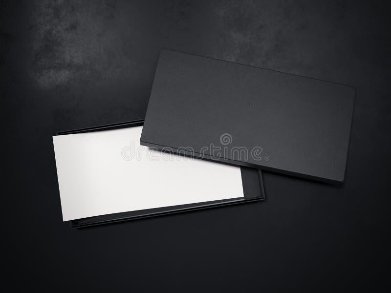 Κενό μαύρο κουτί με το άσπρο ιπτάμενο τρισδιάστατη απόδοση ελεύθερη απεικόνιση δικαιώματος