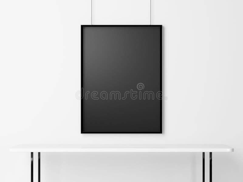Κενό μαύρο πλαίσιο στο πλαίσιο του άσπρου πίνακα τρισδιάστατος δώστε ελεύθερη απεικόνιση δικαιώματος