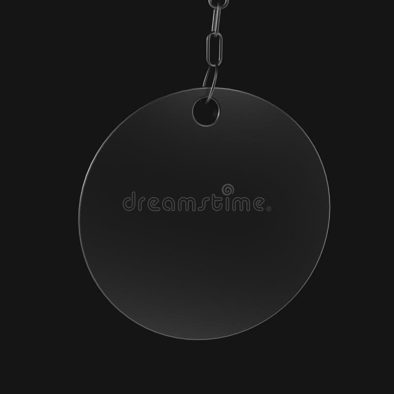 Κενό μετάλλιο από το μέταλλο στην αλυσίδα ελεύθερη απεικόνιση δικαιώματος