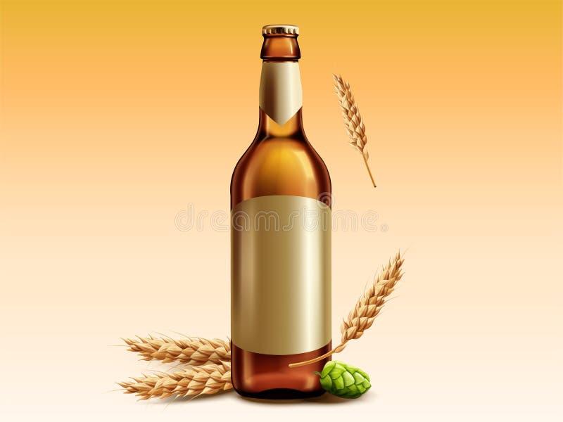 Κενό μπουκάλι γυαλιού μπύρας ελεύθερη απεικόνιση δικαιώματος