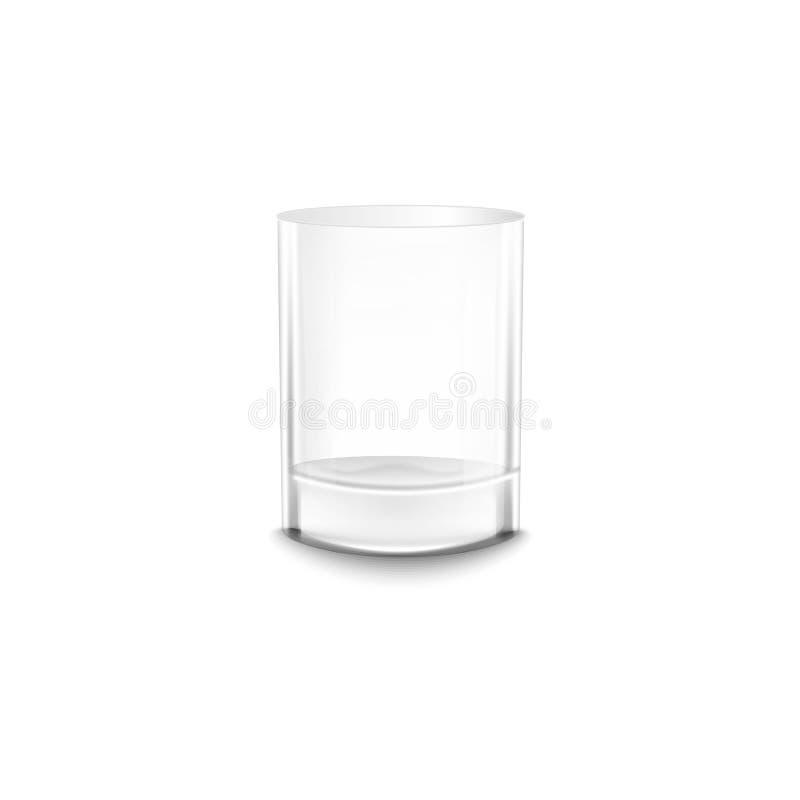 Κενό νερό κρυστάλλου ή ρεαλιστική διανυσματική απεικόνιση προτύπων γυαλιού οινοπνεύματος που απομονώνεται ελεύθερη απεικόνιση δικαιώματος