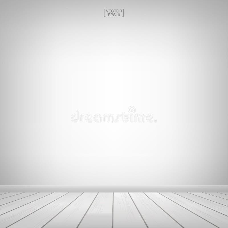 Κενό ξύλινο διάστημα δωματίων με το άσπρο υπόβαθρο τοίχων επίσης corel σύρετε το διάνυσμα απεικόνισης απεικόνιση αποθεμάτων