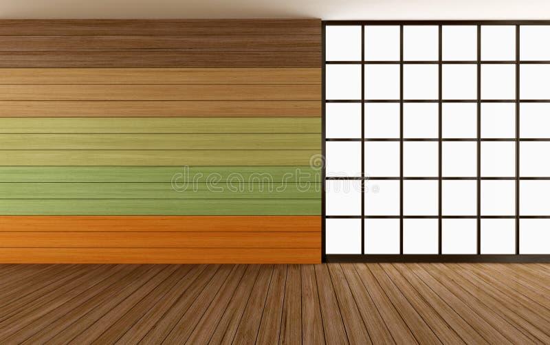 Κενό ξύλινο δωμάτιο με ζωηρόχρωμο διανυσματική απεικόνιση