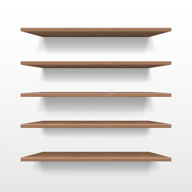 Κενό ξύλινο ράφι καταστημάτων ή έκθεσης, λιανικό πρότυπο ραφιών που απομονώνεται Ρεαλιστικό ξύλινο ράφι με τη σκιά στον τοίχο ελεύθερη απεικόνιση δικαιώματος