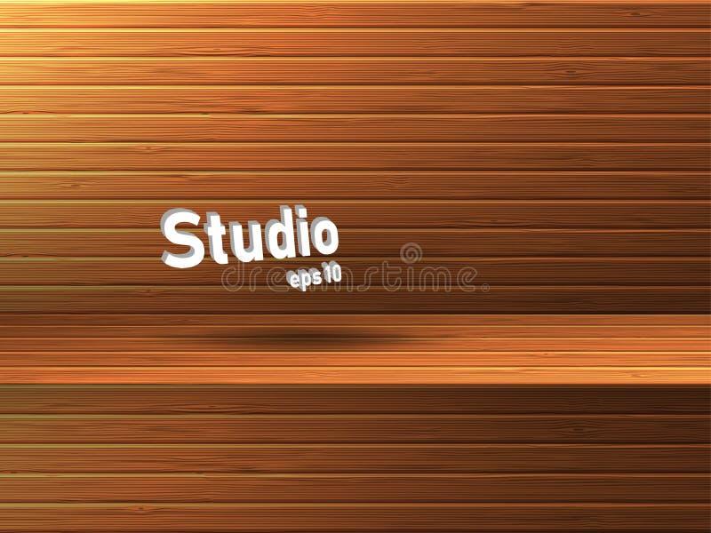 Κενό ξύλινο στούντιο με την κοιλότητα Ελεύθερου χώρου για την παρουσίαση προϊόντων διανυσματική απεικόνιση