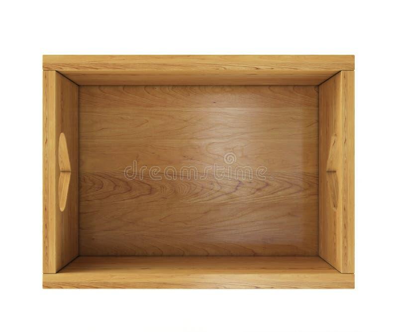 Κενό ξύλινο κιβώτιο που απομονώνεται στο λευκό με τους κατόχους κατά τη τοπ άποψη διανυσματική απεικόνιση