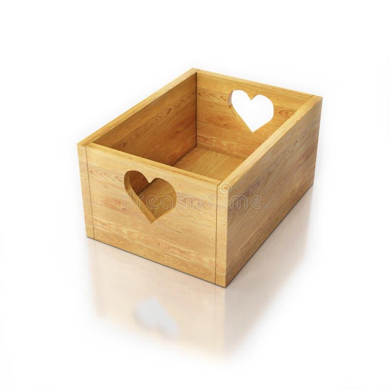 Κενό ξύλινο κιβώτιο στο λευκό με τους κατόχους καρδιών απεικόνιση αποθεμάτων