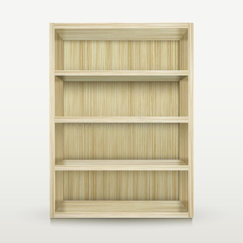 Κενό ξύλινο ράφι στο λευκό διανυσματική απεικόνιση
