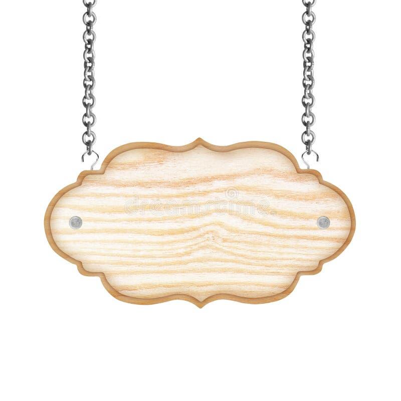 Κενό ξύλινο σημάδι με την αλυσίδα που απομονώνεται στο άσπρο υπόβαθρο στοκ εικόνα